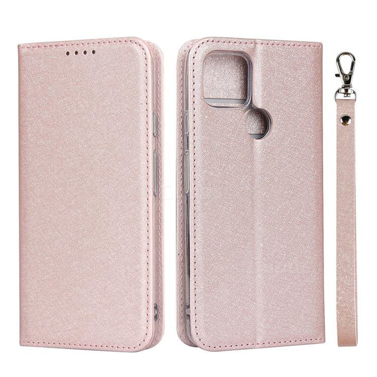 Ultra Slim Magnetic Automatic Suction Silk Lanyard Leather Flip Cover for Google Pixel 4a 5G - Rose Gold