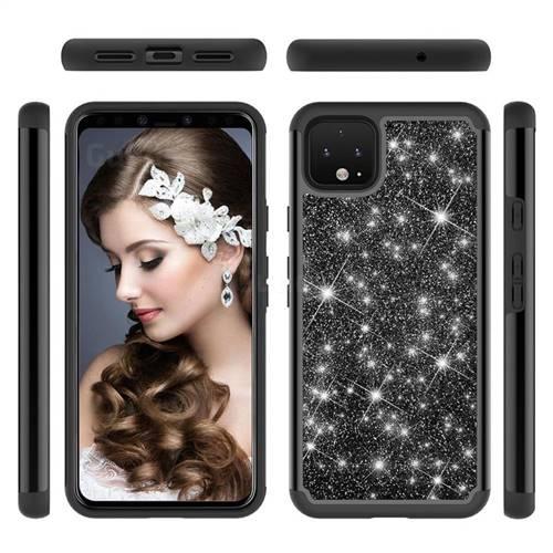 Glitter Rhinestone Bling Shock Absorbing Hybrid Defender Rugged Phone Case Cover for Google Pixel 4 XL - Black