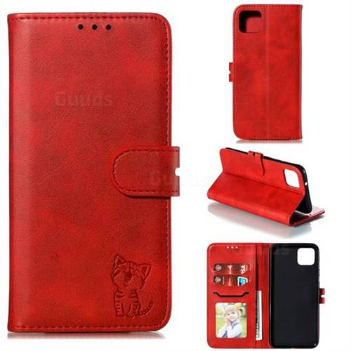 Embossing Happy Cat Leather Wallet Case for Google Pixel 4 XL - Red