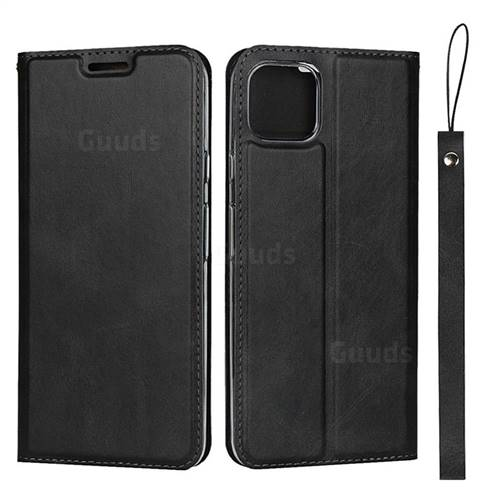 Calf Pattern Magnetic Automatic Suction Leather Wallet Case for Google Pixel 4 XL - Black