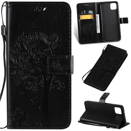 Embossing Butterfly Tree Leather Wallet Case for Google Pixel 4 XL - Black