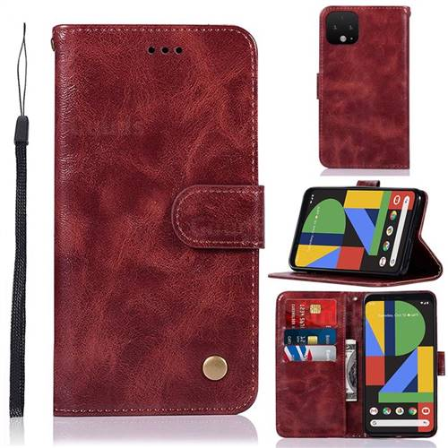 Luxury Retro Leather Wallet Case for Google Pixel 4 XL - Wine Red