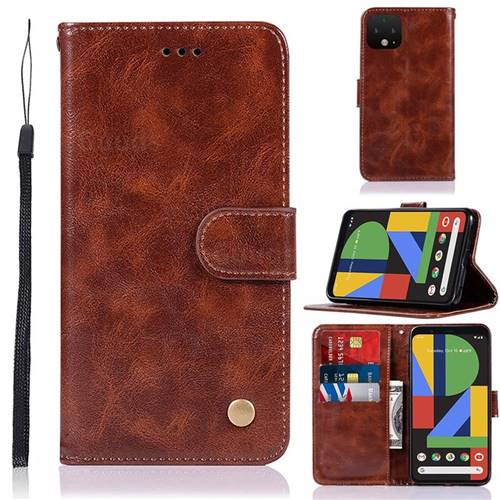 Luxury Retro Leather Wallet Case for Google Pixel 4 XL - Brown