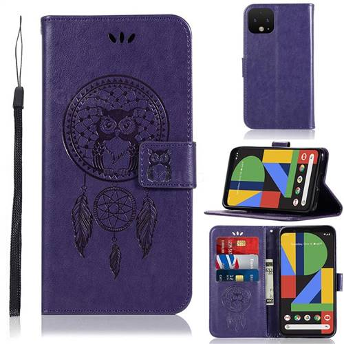 Intricate Embossing Owl Campanula Leather Wallet Case for Google Pixel 4 XL - Purple