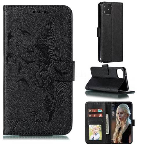 Intricate Embossing Lychee Feather Bird Leather Wallet Case for Google Pixel 4 XL - Black