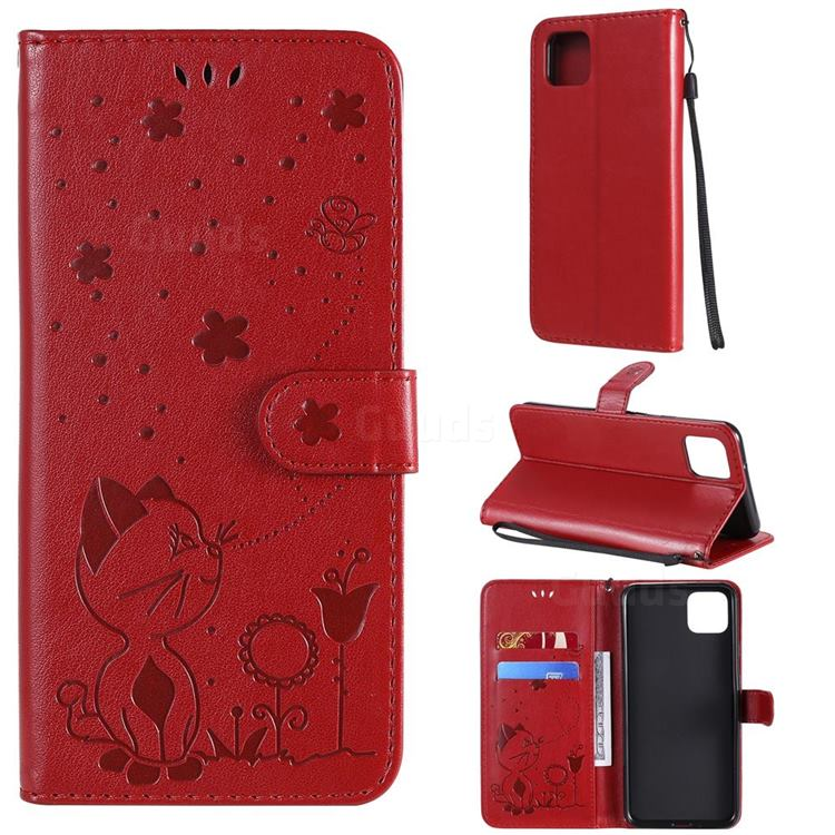 Embossing Bee and Cat Leather Wallet Case for Google Pixel 4 XL - Red