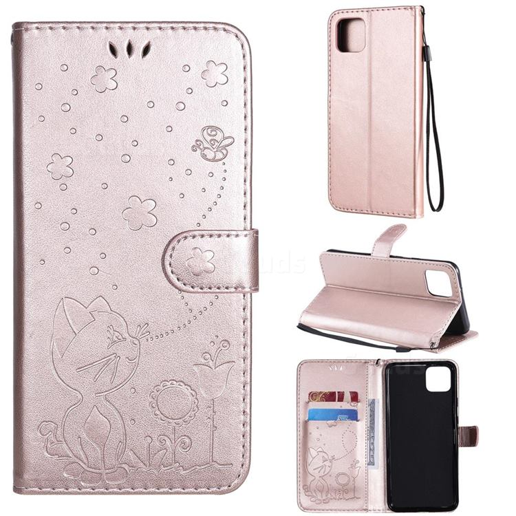 Embossing Bee and Cat Leather Wallet Case for Google Pixel 4 XL - Rose Gold