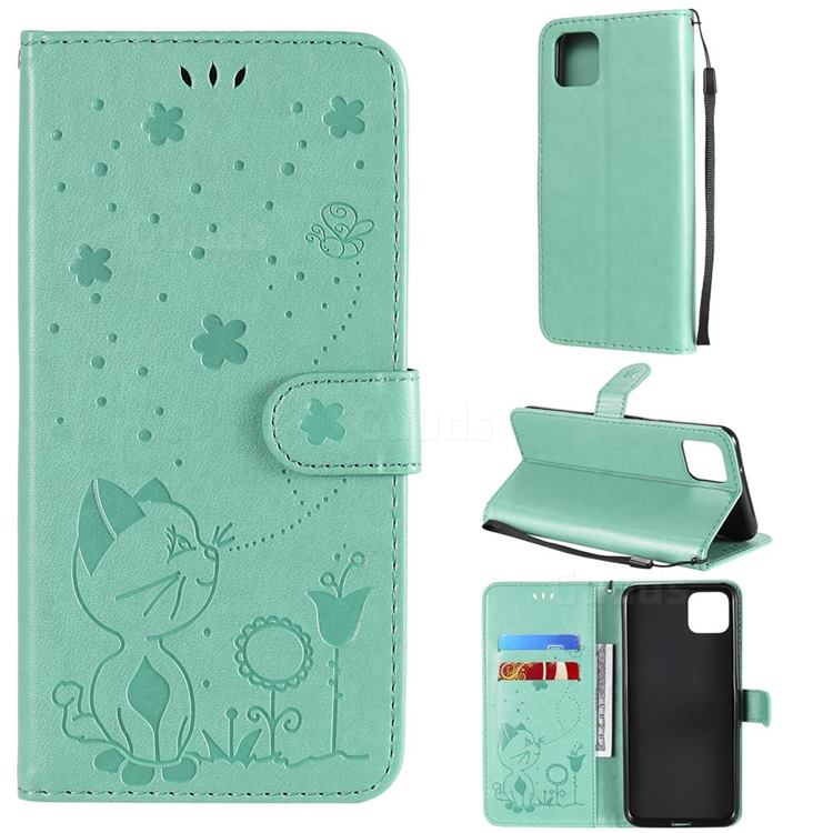 Embossing Bee and Cat Leather Wallet Case for Google Pixel 4 XL - Green