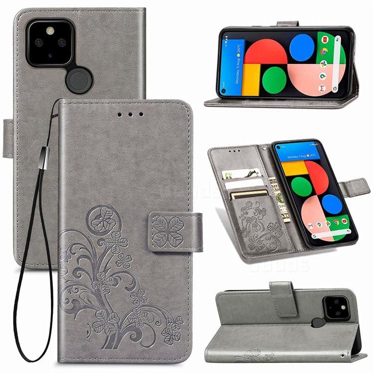 Embossing Imprint Four-Leaf Clover Leather Wallet Case for Google Pixel 5 - Grey
