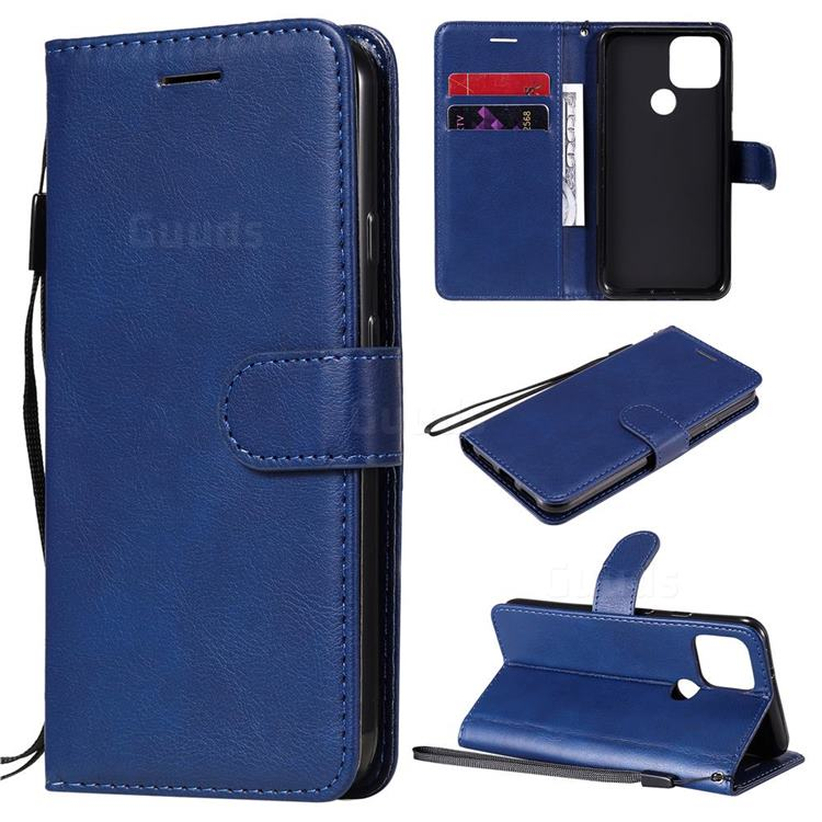 Retro Greek Classic Smooth PU Leather Wallet Phone Case for Google Pixel 5 - Blue