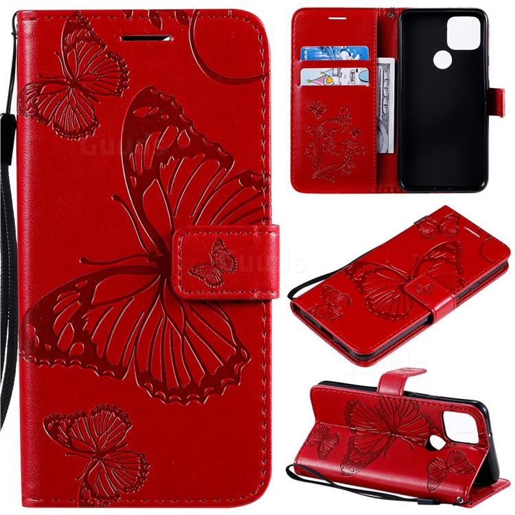 Embossing 3D Butterfly Leather Wallet Case for Google Pixel 5 - Red