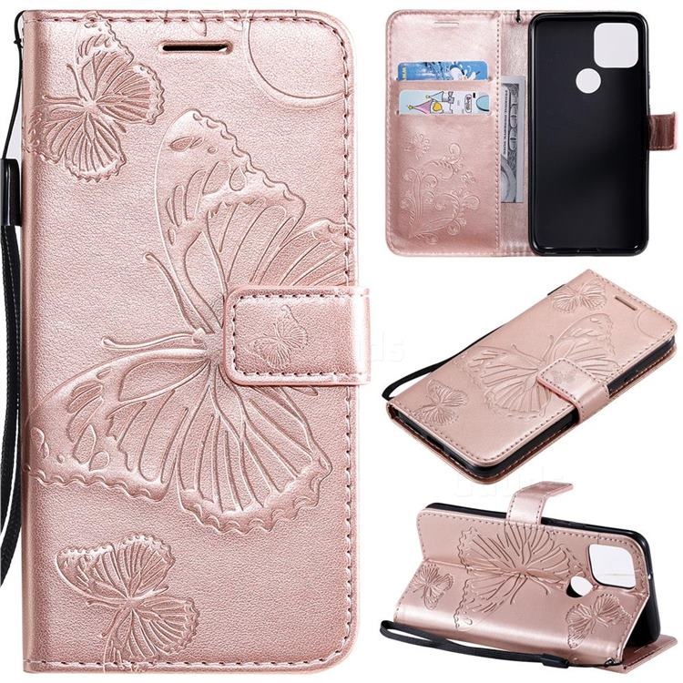 Embossing 3D Butterfly Leather Wallet Case for Google Pixel 5 - Rose Gold