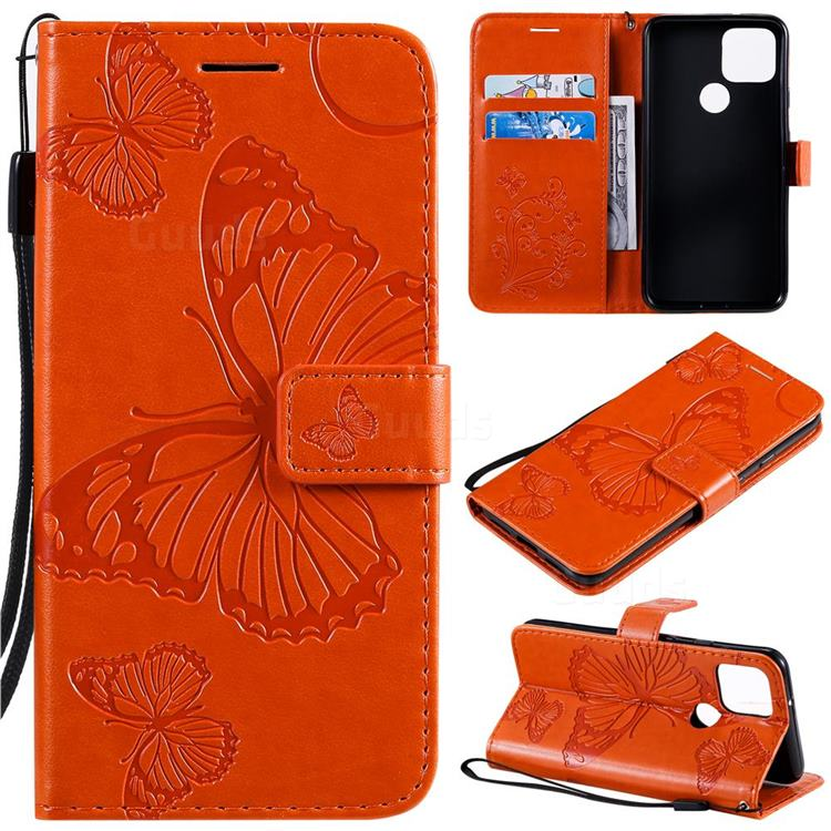 Embossing 3D Butterfly Leather Wallet Case for Google Pixel 5 - Orange