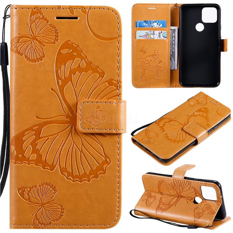 Embossing 3D Butterfly Leather Wallet Case for Google Pixel 5 - Yellow