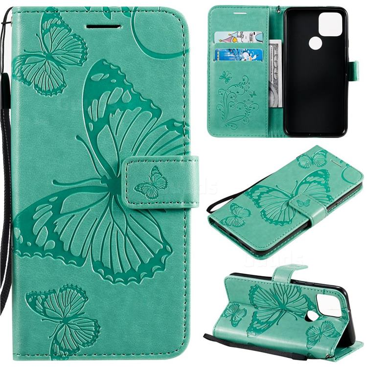 Embossing 3D Butterfly Leather Wallet Case for Google Pixel 5 - Green