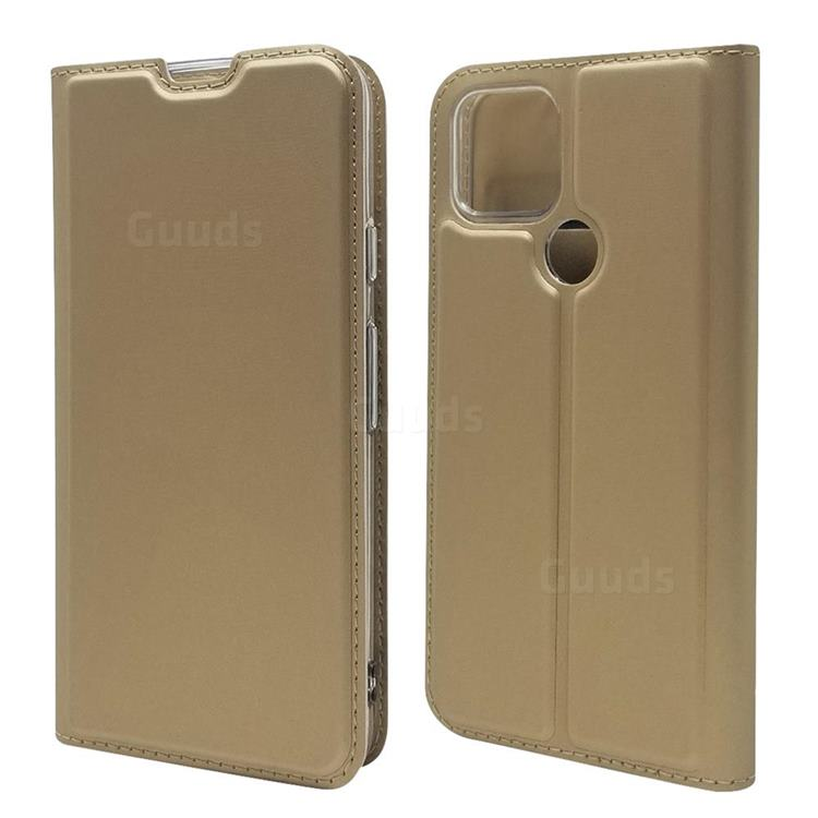 Ultra Slim Card Magnetic Automatic Suction Leather Wallet Case for Google Pixel 5 - Champagne