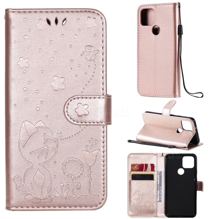 Embossing Bee and Cat Leather Wallet Case for Google Pixel 5 - Rose Gold