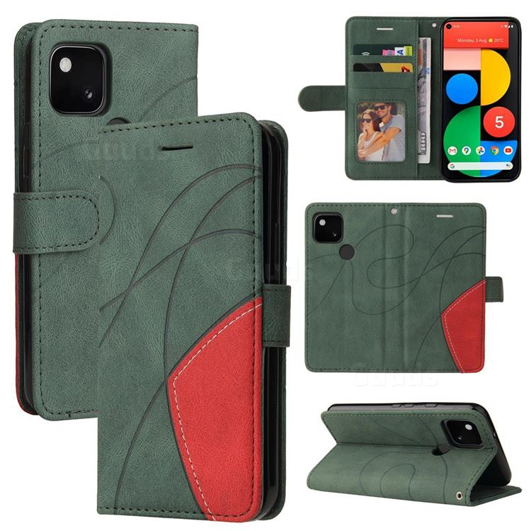 Luxury Two-color Stitching Leather Wallet Case Cover for Google Pixel 5 - Green