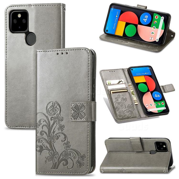 Embossing Imprint Four-Leaf Clover Leather Wallet Case for Google Pixel 5A - Grey