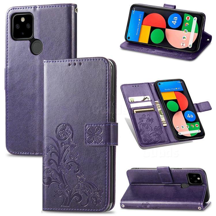 Embossing Imprint Four-Leaf Clover Leather Wallet Case for Google Pixel 5A - Purple