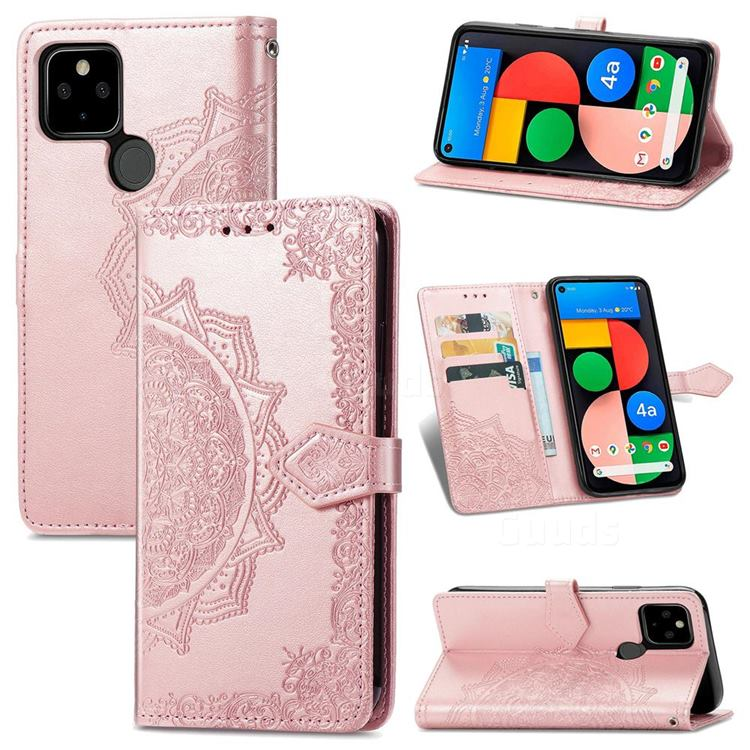 Embossing Imprint Mandala Flower Leather Wallet Case for Google Pixel 5A - Rose Gold