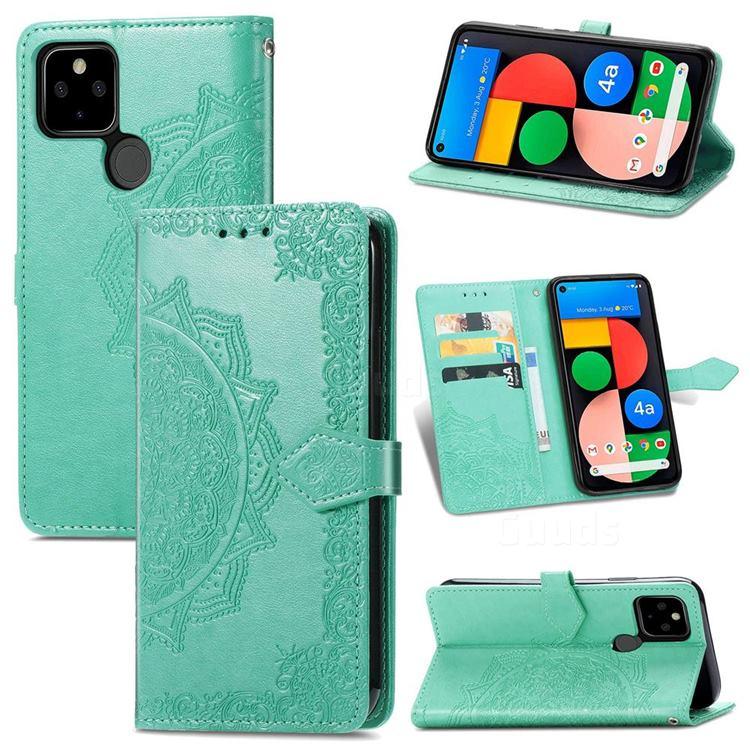 Embossing Imprint Mandala Flower Leather Wallet Case for Google Pixel 5A - Green