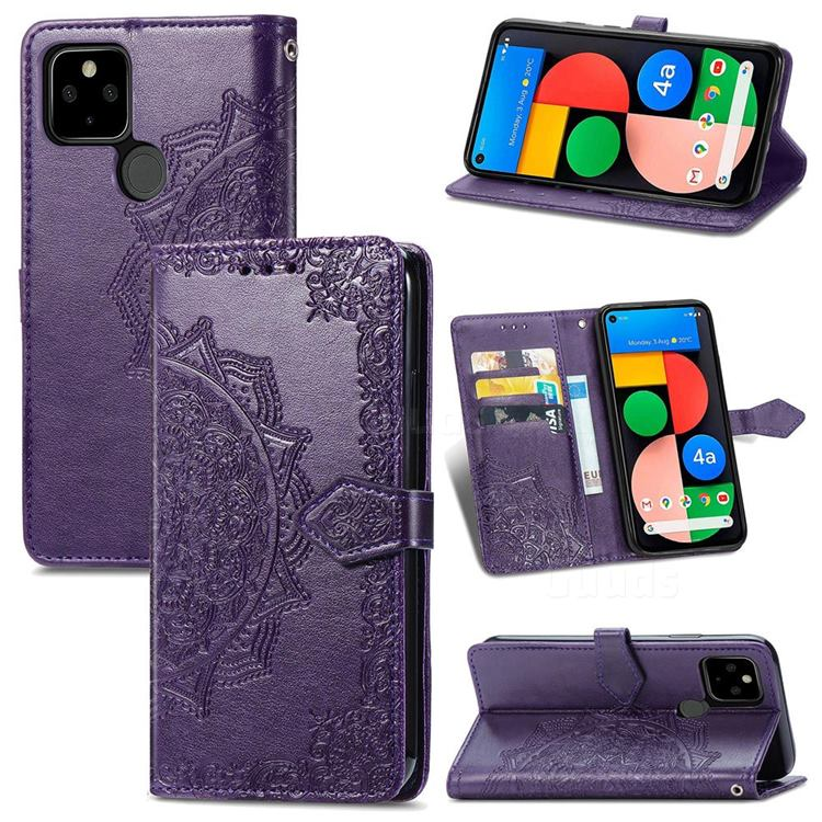 Embossing Imprint Mandala Flower Leather Wallet Case for Google Pixel 5A - Purple