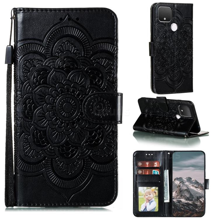 Intricate Embossing Datura Solar Leather Wallet Case for Google Pixel 5 XL - Black