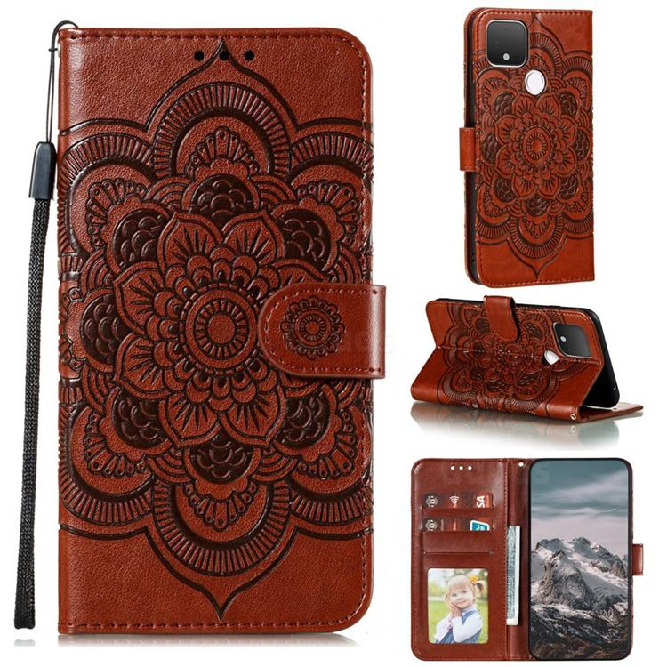 Intricate Embossing Datura Solar Leather Wallet Case for Google Pixel 5 XL - Brown