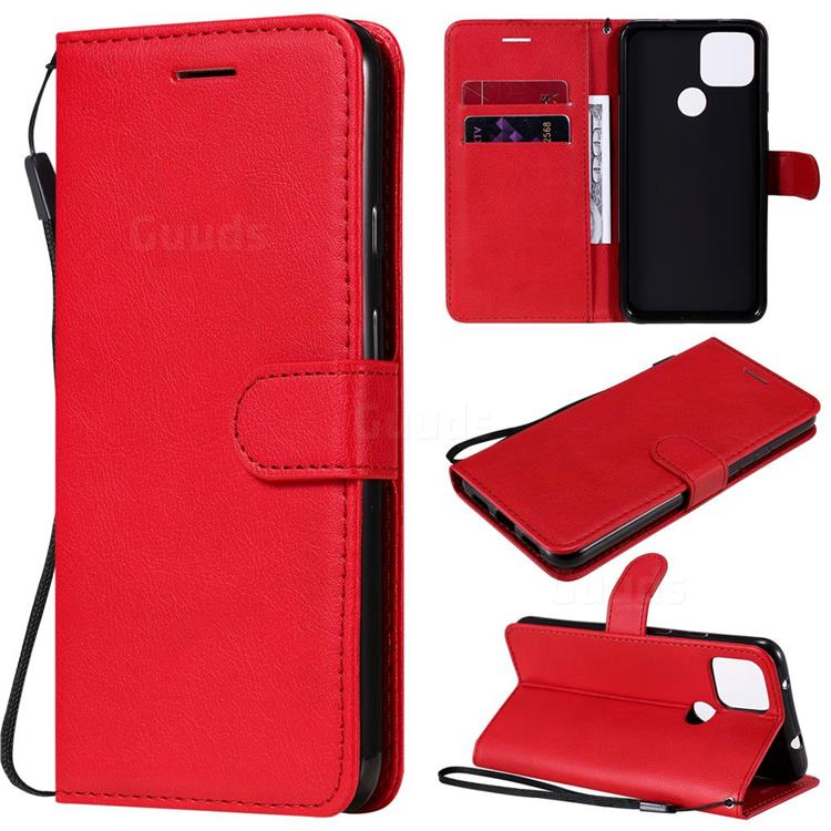 Retro Greek Classic Smooth PU Leather Wallet Phone Case for Google Pixel 5 XL - Red