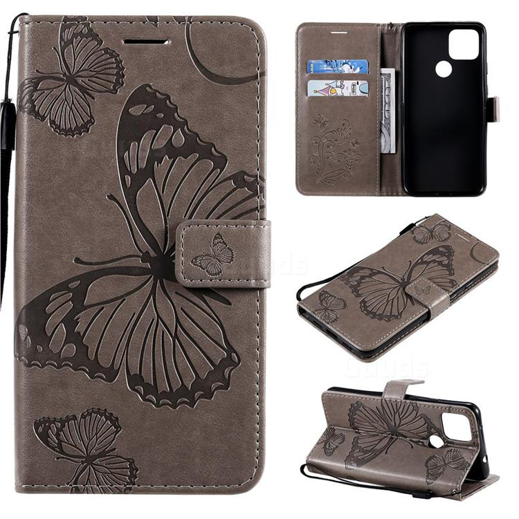 Embossing 3D Butterfly Leather Wallet Case for Google Pixel 5 XL - Gray