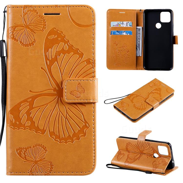 Embossing 3D Butterfly Leather Wallet Case for Google Pixel 5 XL - Yellow