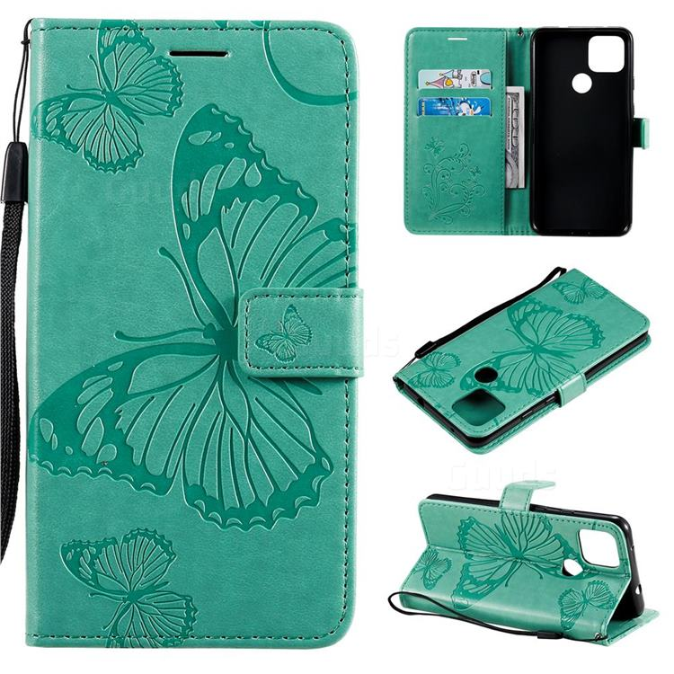 Embossing 3D Butterfly Leather Wallet Case for Google Pixel 5 XL - Green