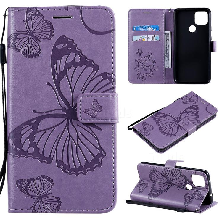 Embossing 3D Butterfly Leather Wallet Case for Google Pixel 5 XL - Purple