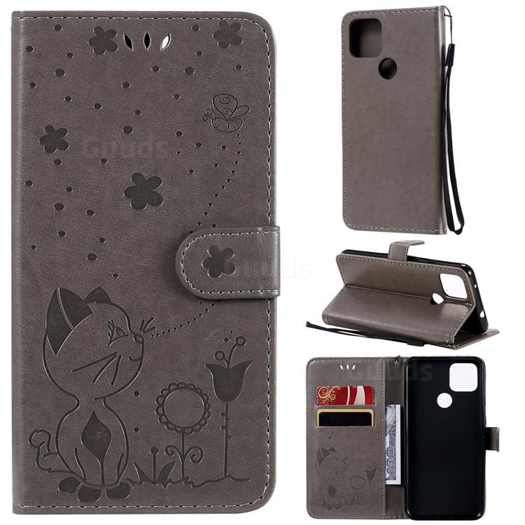 Embossing Bee and Cat Leather Wallet Case for Google Pixel 5 XL - Gray