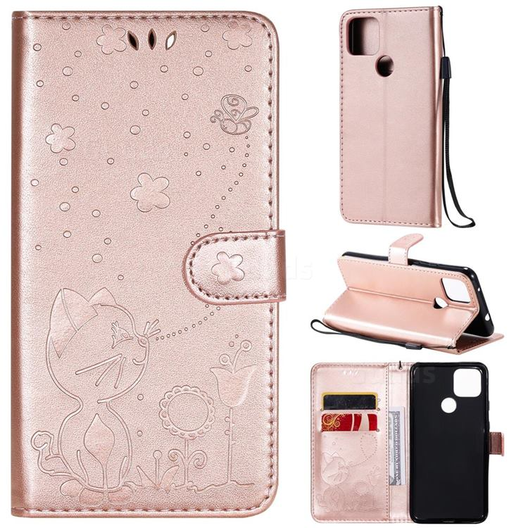 Embossing Bee and Cat Leather Wallet Case for Google Pixel 5 XL - Rose Gold