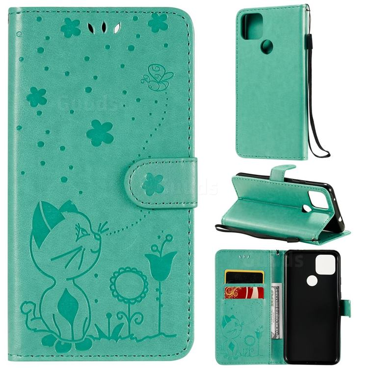 Embossing Bee and Cat Leather Wallet Case for Google Pixel 5 XL - Green