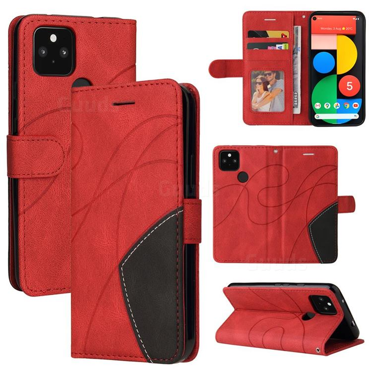 Luxury Two-color Stitching Leather Wallet Case Cover for Google Pixel 5 XL - Red