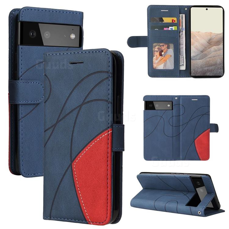 Luxury Two-color Stitching Leather Wallet Case Cover for Google Pixel 6 - Blue