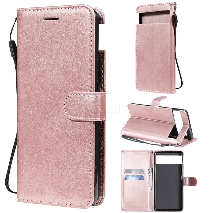 Retro Greek Classic Smooth PU Leather Wallet Phone Case for Google Pixel 6 - Rose Gold