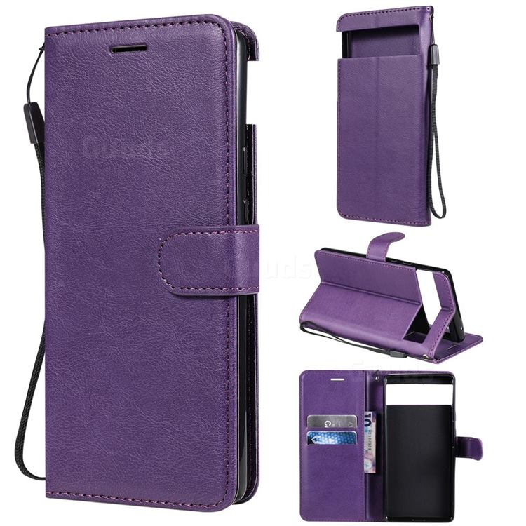 Retro Greek Classic Smooth PU Leather Wallet Phone Case for Google Pixel 6 - Purple