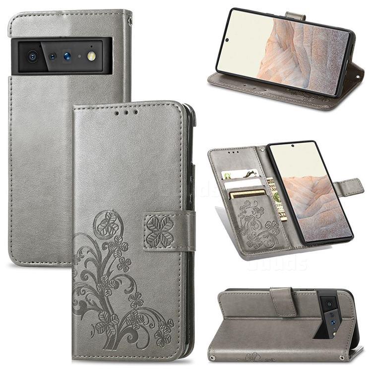 Embossing Imprint Four-Leaf Clover Leather Wallet Case for Google Pixel 6 Pro - Grey