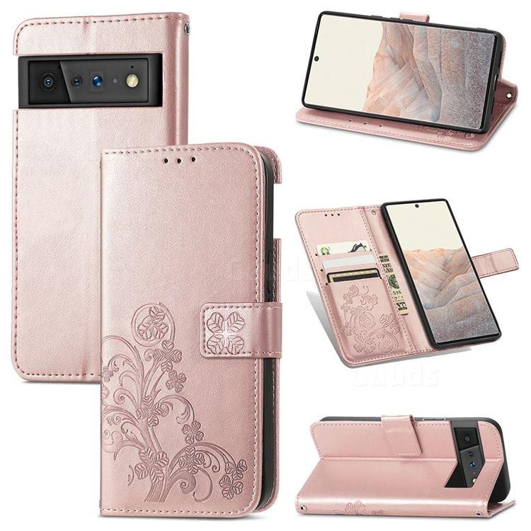 Embossing Imprint Four-Leaf Clover Leather Wallet Case for Google Pixel 6 Pro - Rose Gold