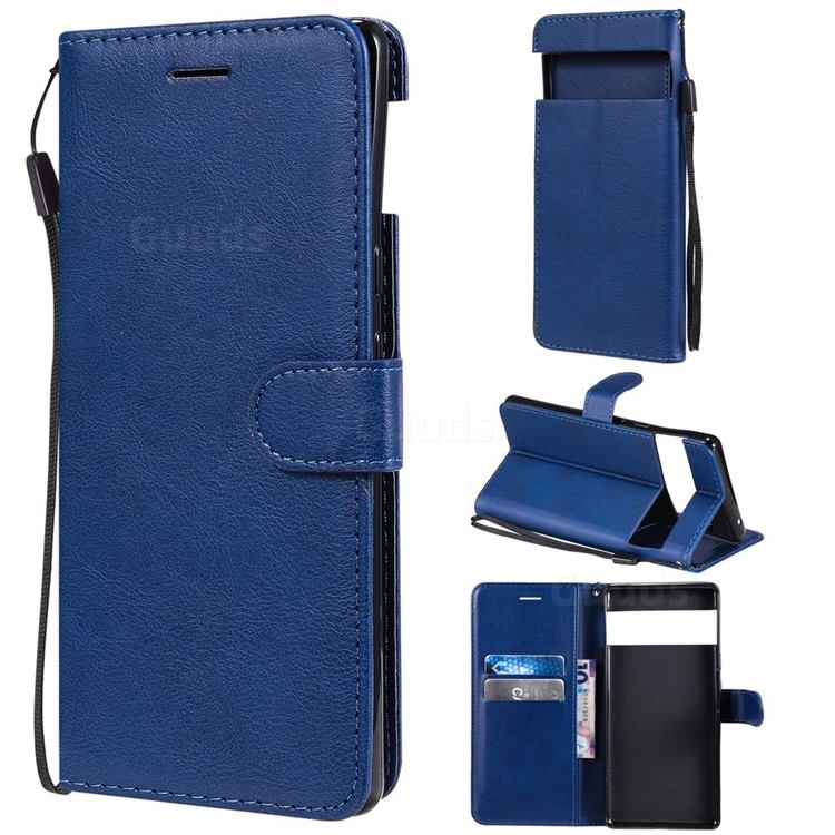 Retro Greek Classic Smooth PU Leather Wallet Phone Case for Google Pixel 6 Pro - Blue