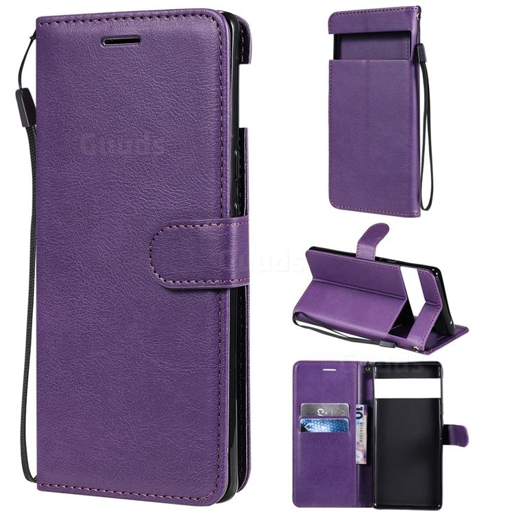 Retro Greek Classic Smooth PU Leather Wallet Phone Case for Google Pixel 6 Pro - Purple