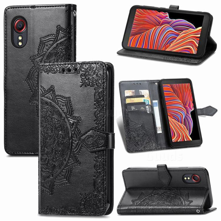 Embossing Imprint Mandala Flower Leather Wallet Case for Samsung Galaxy Xcover 5 - Black