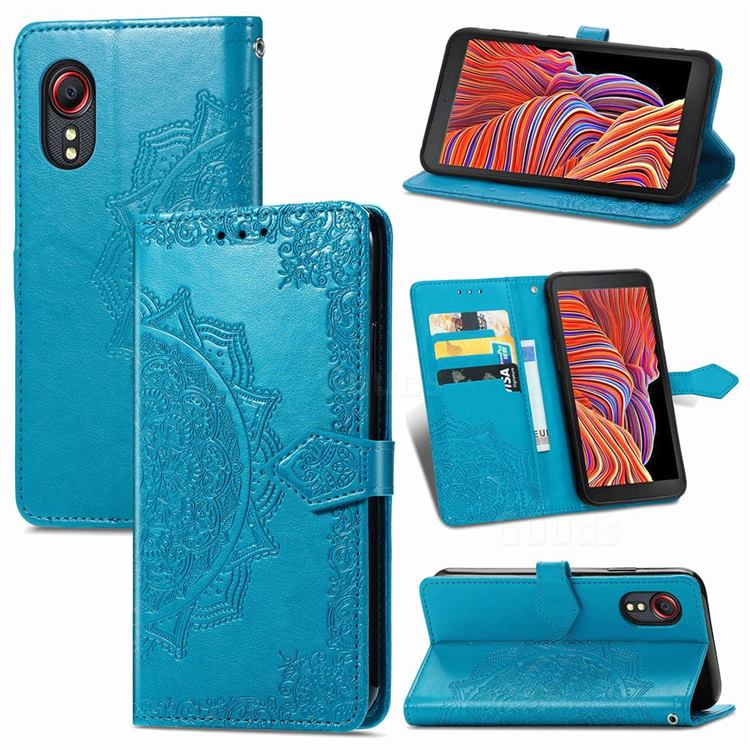 Embossing Imprint Mandala Flower Leather Wallet Case for Samsung Galaxy Xcover 5 - Blue