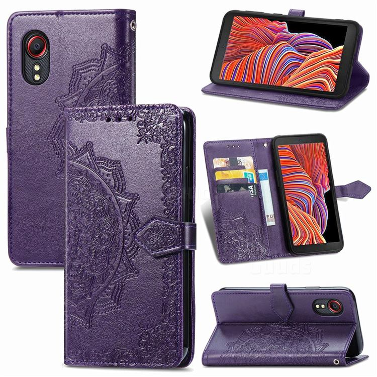 Embossing Imprint Mandala Flower Leather Wallet Case for Samsung Galaxy Xcover 5 - Purple