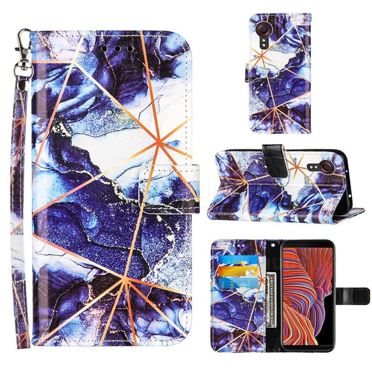 Starry Blue Stitching Color Marble Leather Wallet Case for Samsung Galaxy Xcover 5