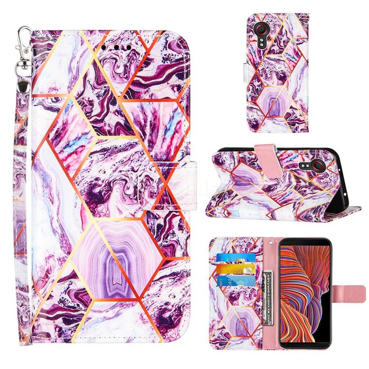 Dream Purple Stitching Color Marble Leather Wallet Case for Samsung Galaxy Xcover 5